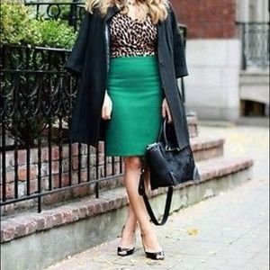 J. Crew • Green number 2 pencil skirt